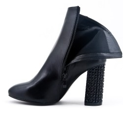 Bottine noire en simili cuir à zippé