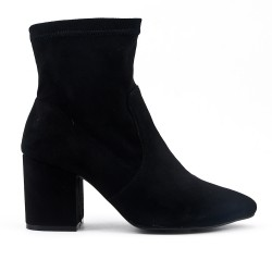 Black suede ankle boot with heel
