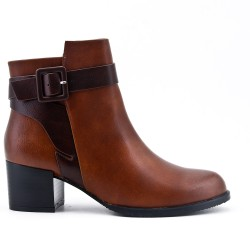 Camel leather ankle boot with buckled bridle