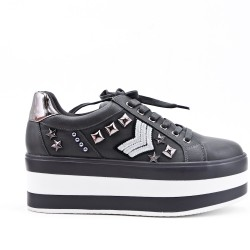 Gray basketball with lace platform