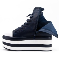 Blue imitation leather ankle boot with platform