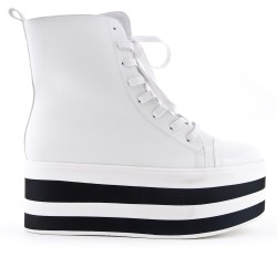 White imitation leather ankle boot with platform