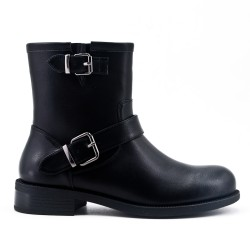 Black flat ankle boot in faux leather
