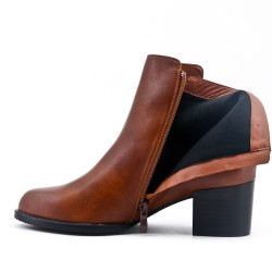 Camel ankle boot with faux leather back