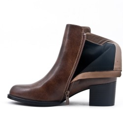 Khaki faux leather ankle boot with flange at the back