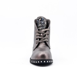 Gray ankle boot with rhinestones on the tongue