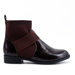 Brown flat ankle boot