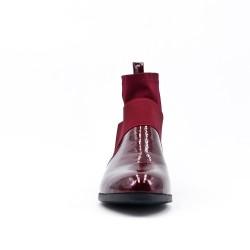 Bottine plate rouge bi-matière