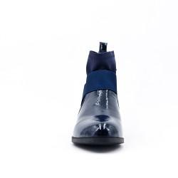 Bottine plate bleu bi-matière