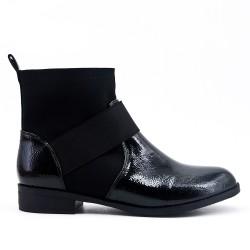 Bi-material flat black ankle boot