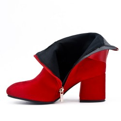 Red suede ankle boot with buckled bridle