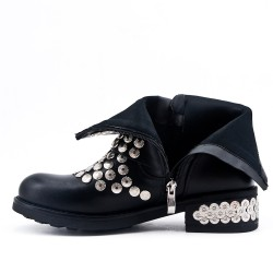 Black imitation leather ankle boot with studs