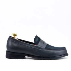Gray leather moccasin with flange