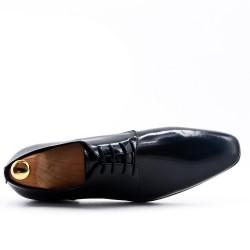 Derby noir à lacet en cuir lisse