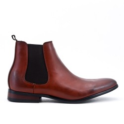 Cognac imitation leather ankle boot with elastic panel