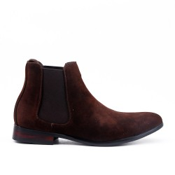 Brown suede ankle boot with elastic panel