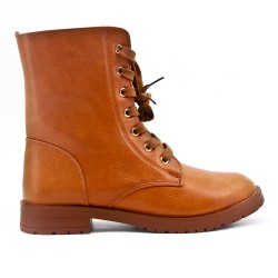 Camel leatherette ankle boot with lace