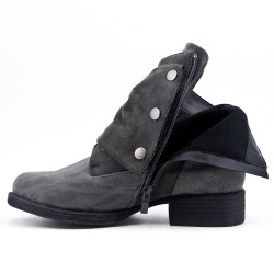 Bi-material gray lace-up boot