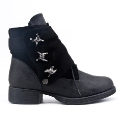 Bi-material lace-up black ankle boot