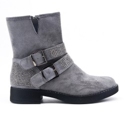 Gray faux suede ankle boot with rhinestones