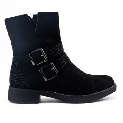 Black faux suede ankle boot with rhinestones