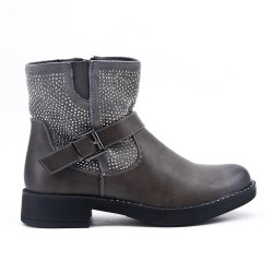 Bi-material gray ankle boot with rhinestones