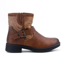 Bi-material camel boot with rhinestones