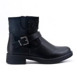 Bi-material black ankle boot with rhinestones