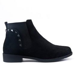 Black suede ankle boot with elastic inset
