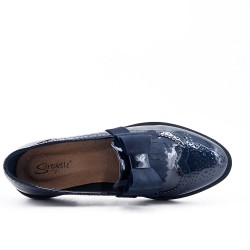 Navy blue moccasin with bow