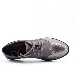 Richelieu gray bi-material lace