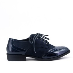 Navy blue two-material lace-up brogue