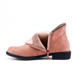 Pink ankle boot in faux suede