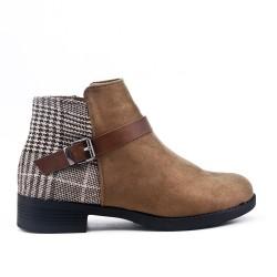 Checked khaki ankle boot