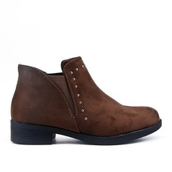 Brown ankle boot in faux suede