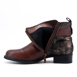 Brown ankle boot with glittery detail