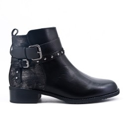 Black boot with glittery detail