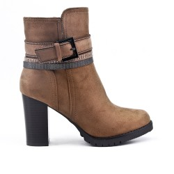 Khaki ankle boot in suede with heel