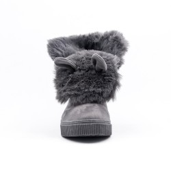 Gray ankle boot with faux suede lace-up