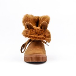 Camel ankle boot with faux suede lace-up