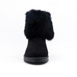 Furry black bootie