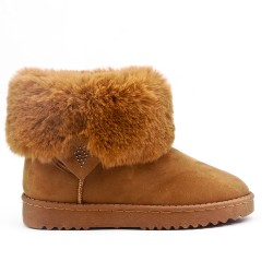 Camel boot with fur