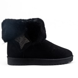 Black ankle boot with fur