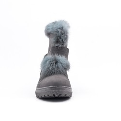 Gray ankle boot with faux suede
