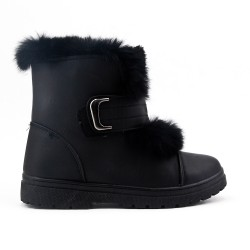Black ankle boot with faux suede