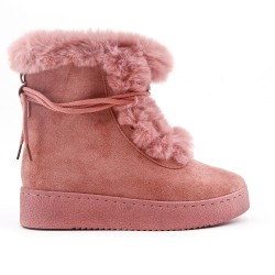 Pink ankle boot with faux suede lace