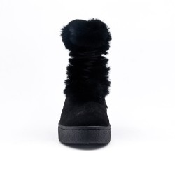 Black ankle boot with faux suede lace-up