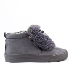 Filled gray ankle boot