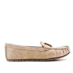 Big size - Beige faux leather comfort shoe