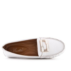 Large size - White faux leather comfort shoe